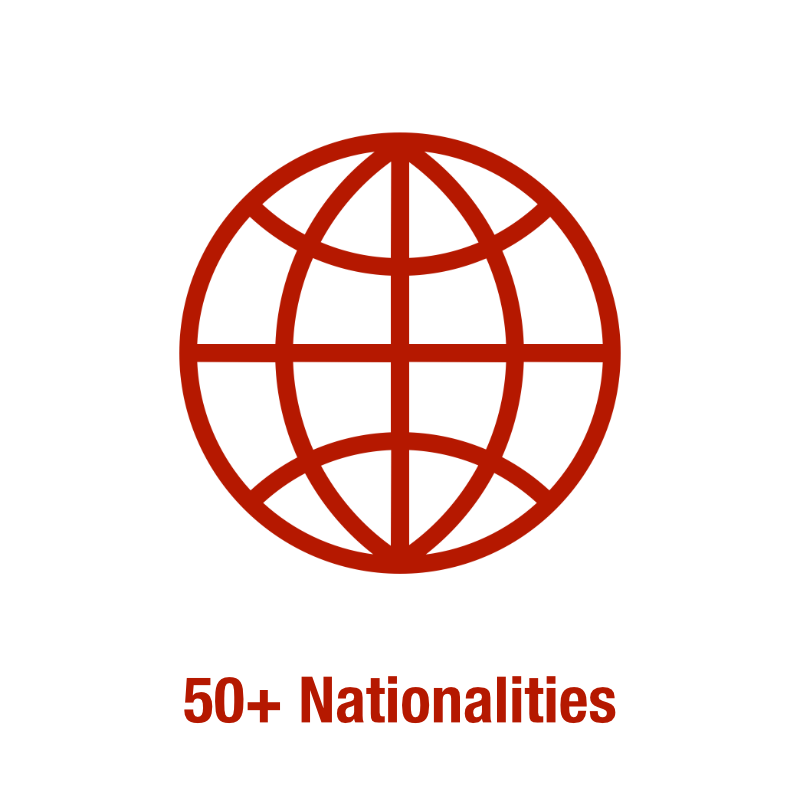 50+ Nationalities
