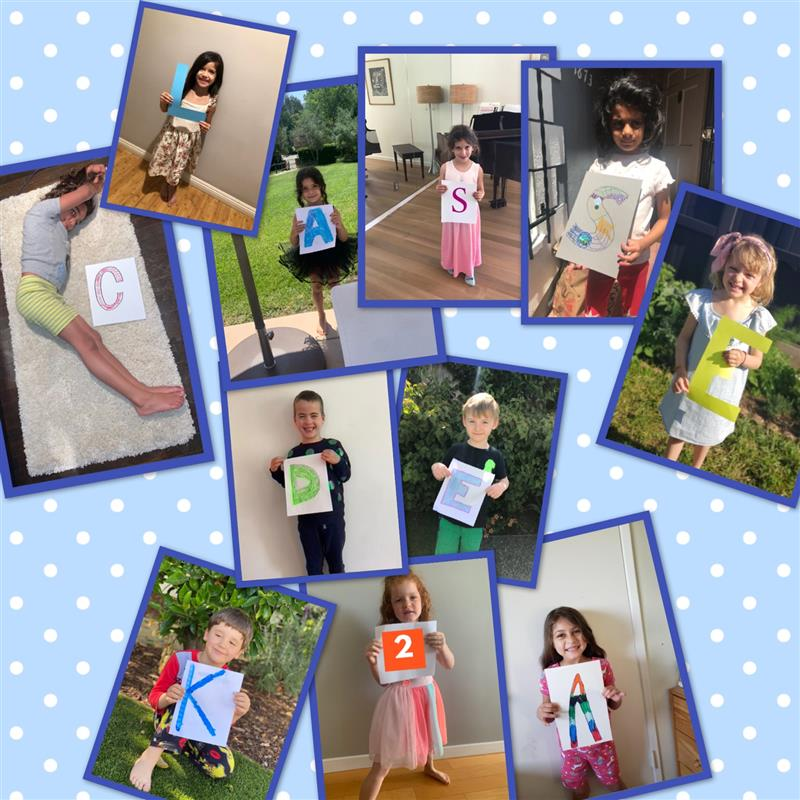 collage of photos with students holding signs with letters and numbers