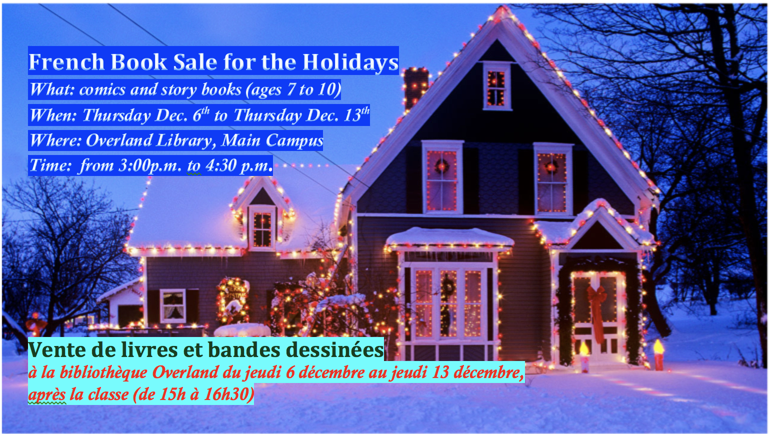 Holiday Boutique (Dec 6 ) and French Book Sale (