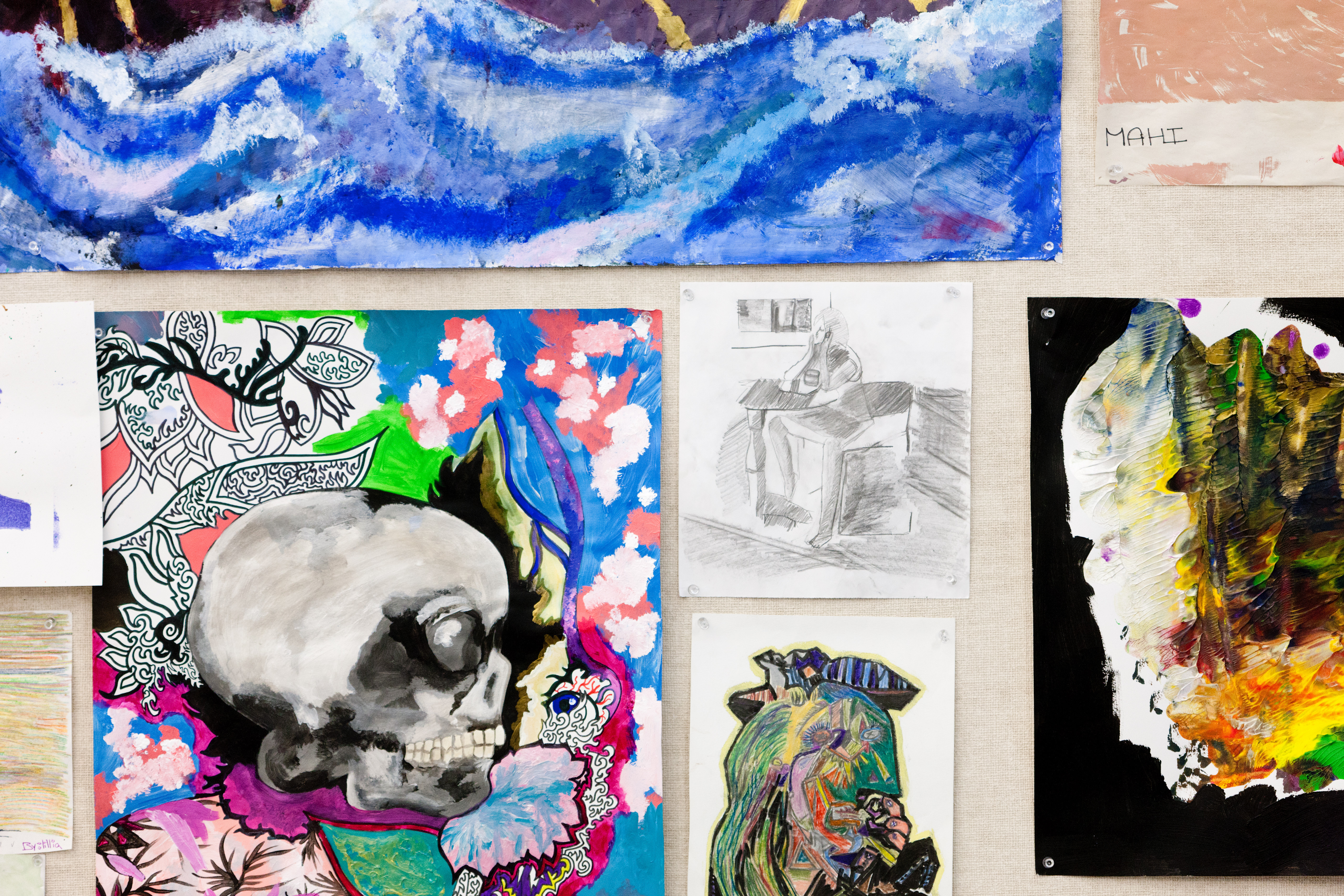 student drawings, paintings, and mixed media pieces