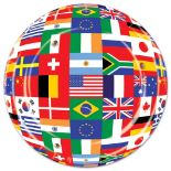 A globe created out of country flags