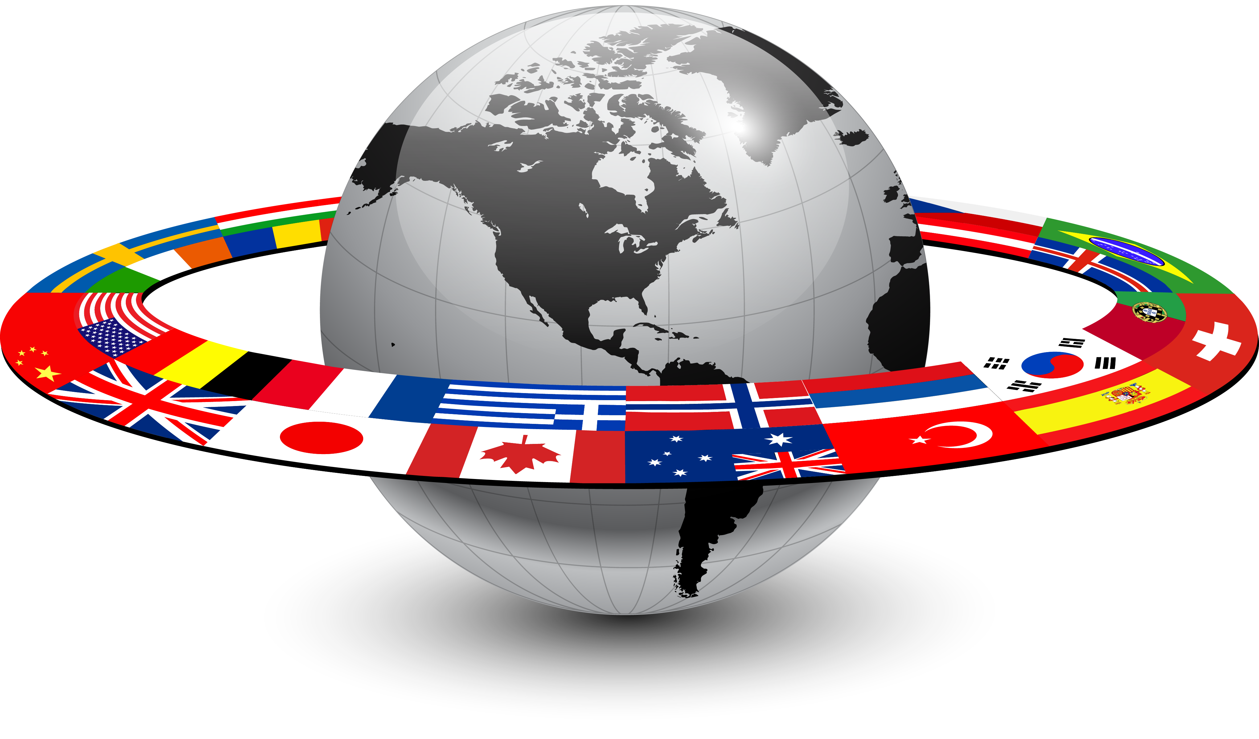 A globe with flags of countries around it